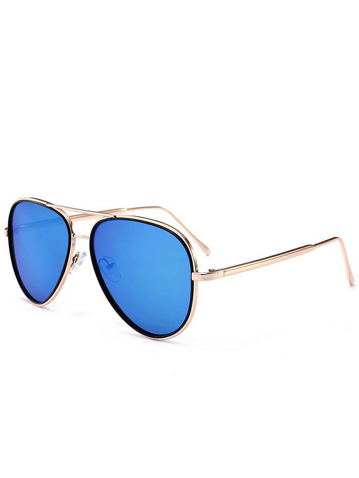 UV Protection Metal Frame Crossbar Sunglasses - SEA BLUE