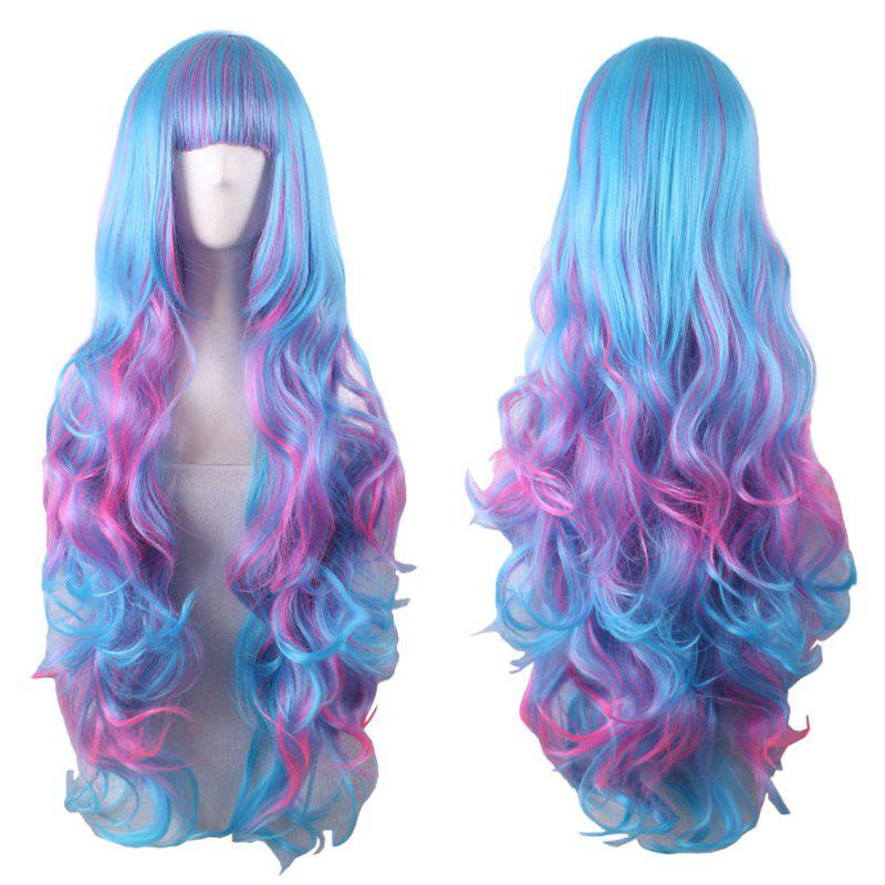 Long Full Bang Fluffy Wavy Colormix Cosplay Synthétique Lolita Perruque - multicolorcolore