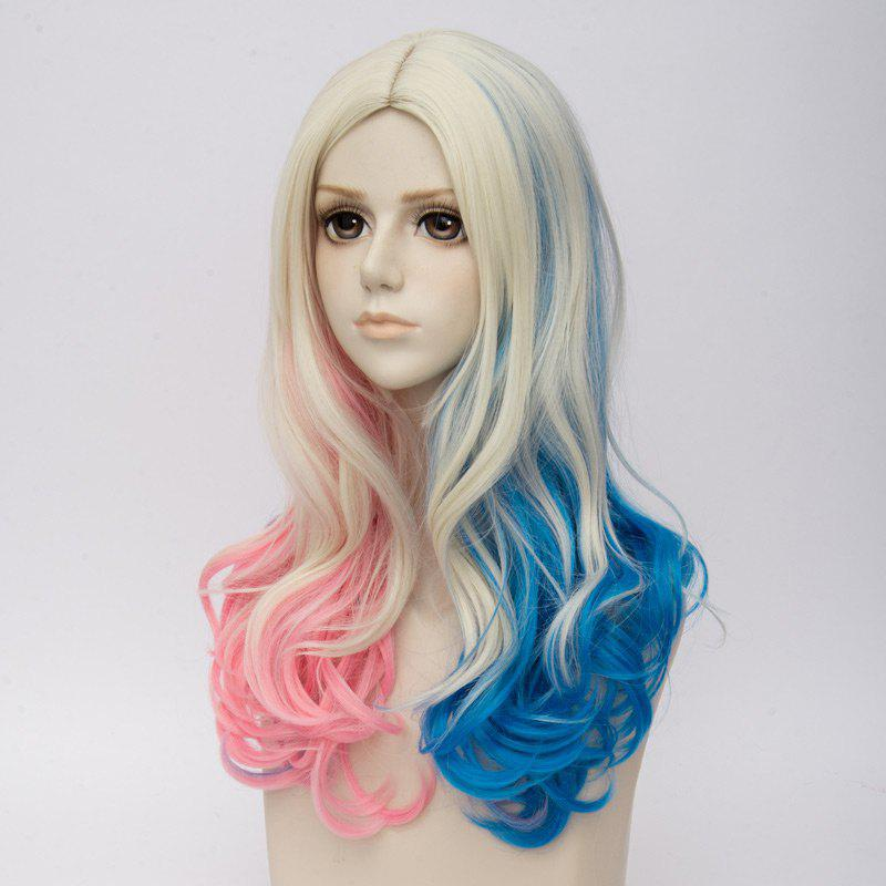 Long Middle Part Curly Colormix Synthetic Suicide Squad Harley Quinn Cosplay Wig - multicolorcolore