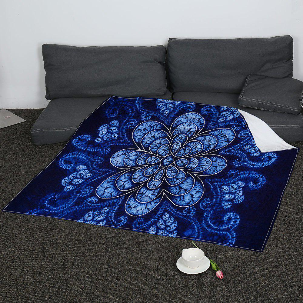 Flower Pattern Soft Coral Fleece Blanket - BLUE W47INCH*L59INCH