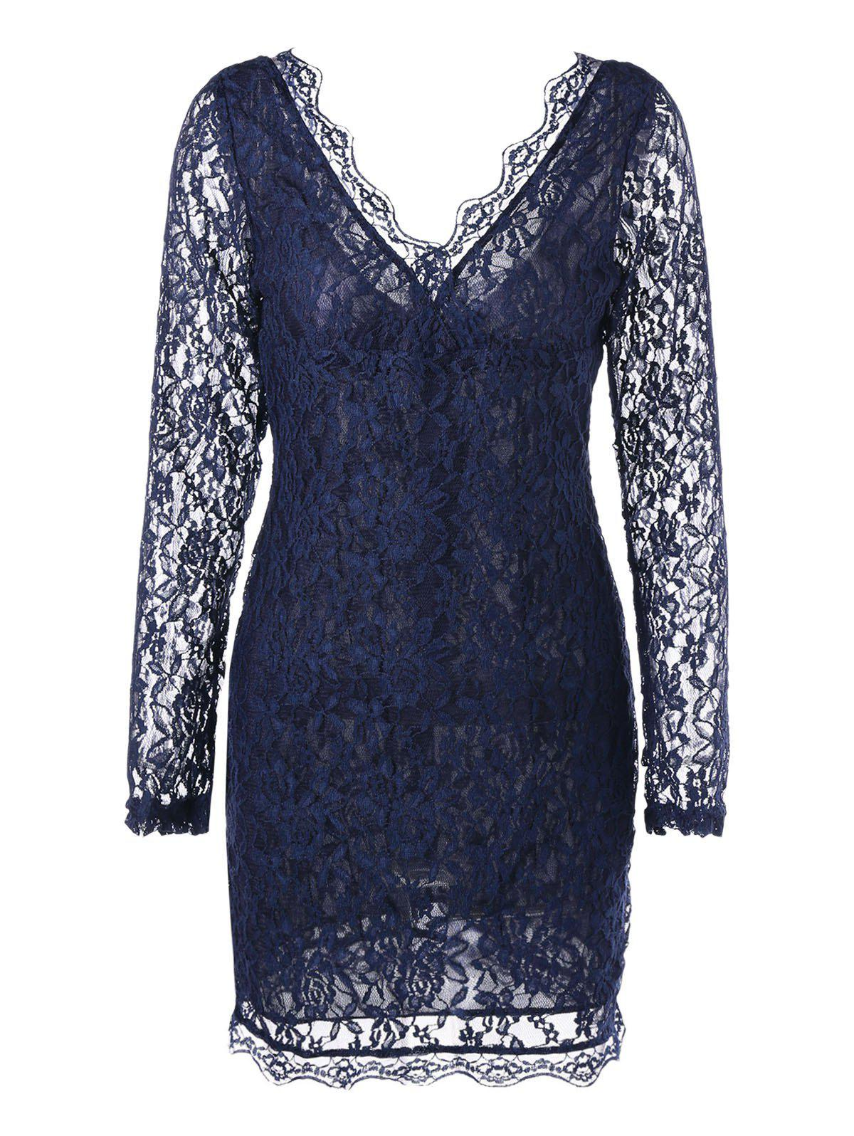 Plunging Neck Sheer Long Sleeve Lace Dress - PURPLISH BLUE 2XL