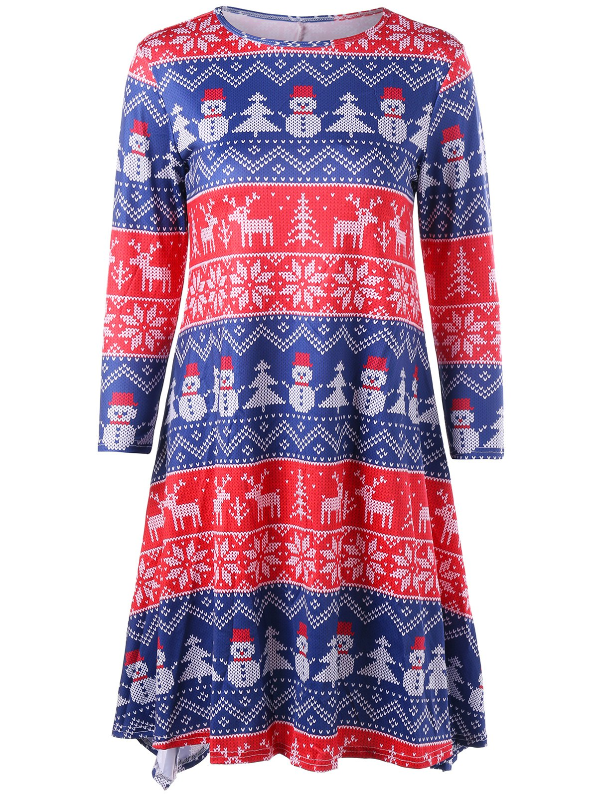 Christmas Elk Snowman Snowflake Long Sleeve Dress - COLORMIX S