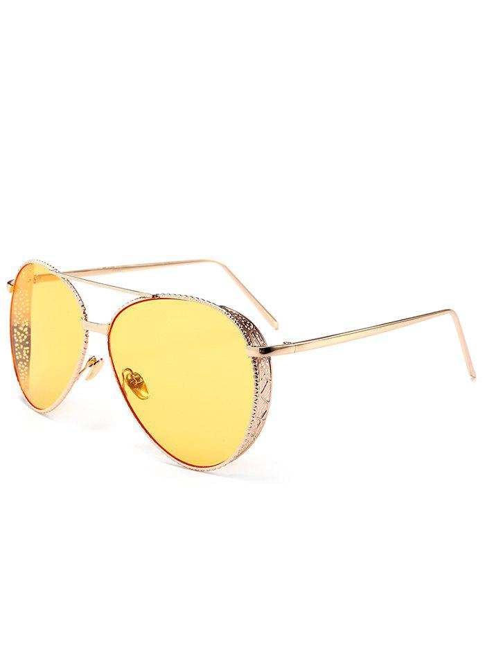 Anti UV Metal Frame Carved Pilot Sunglasses - LIGHT YELLOW
