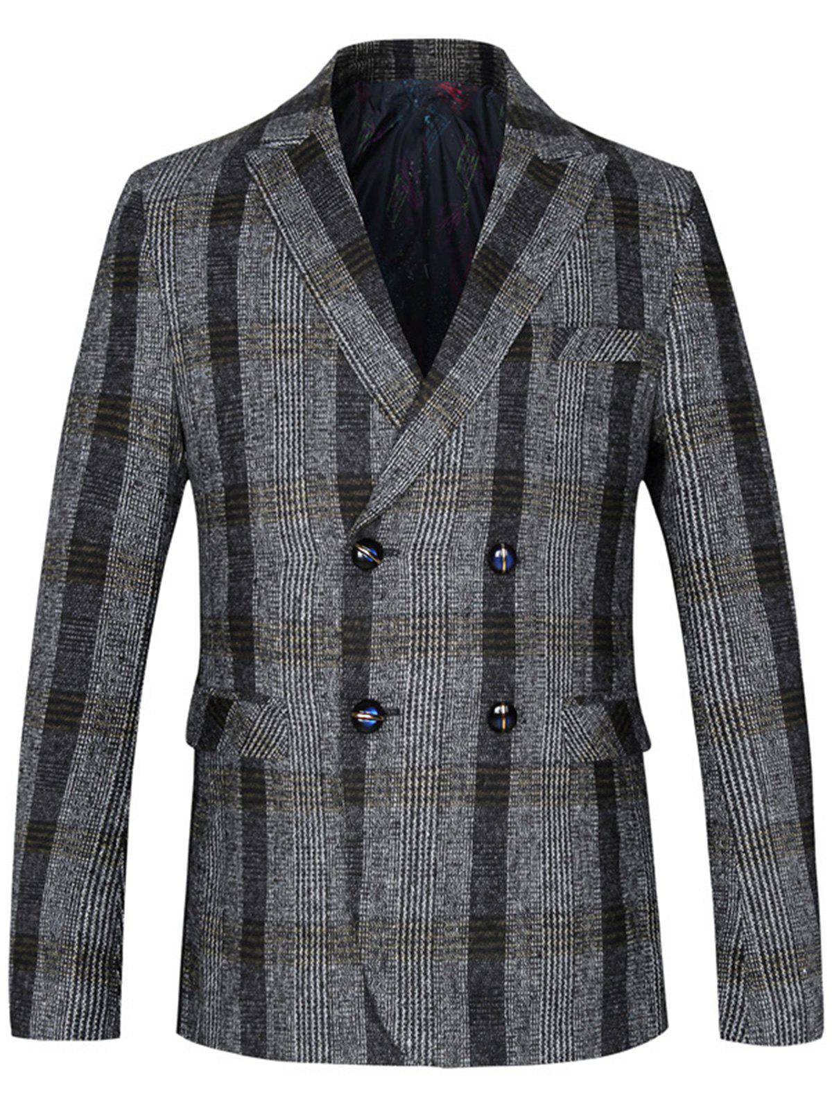 Lapel Double Breasted Woolen Tartan Blazer - LIGHT GRAY 4XL