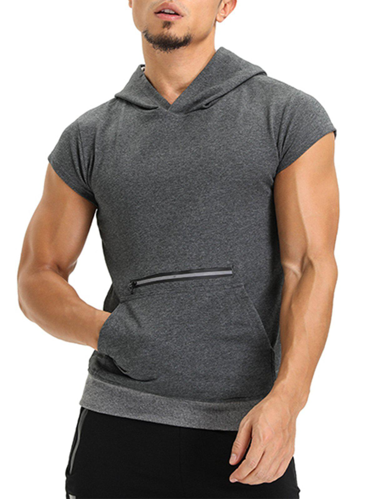 Hooded Pouch Pocket Zipper Vest - DEEP GRAY M