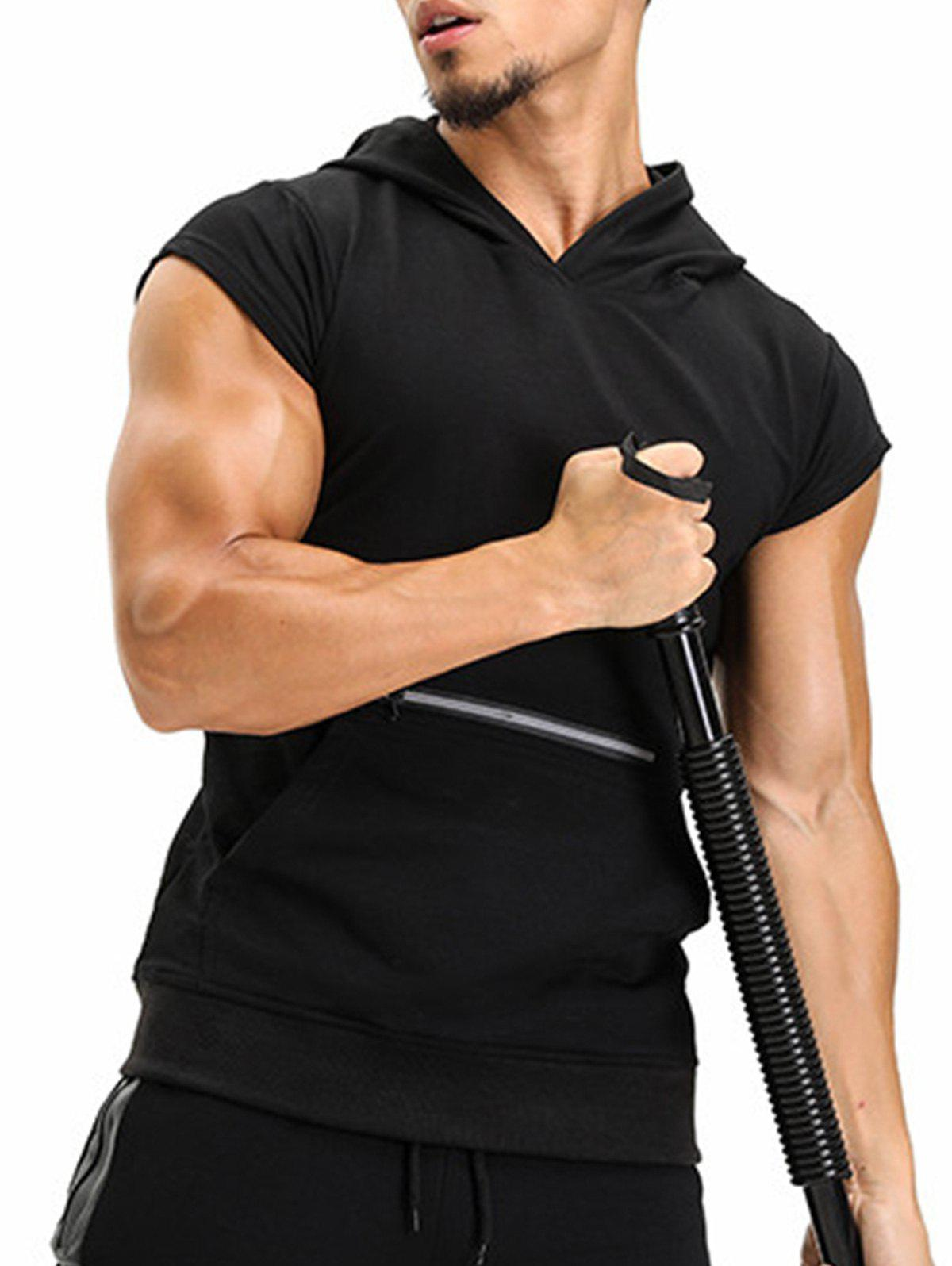 Hooded Pouch Pocket Zipper Vest - BLACK L