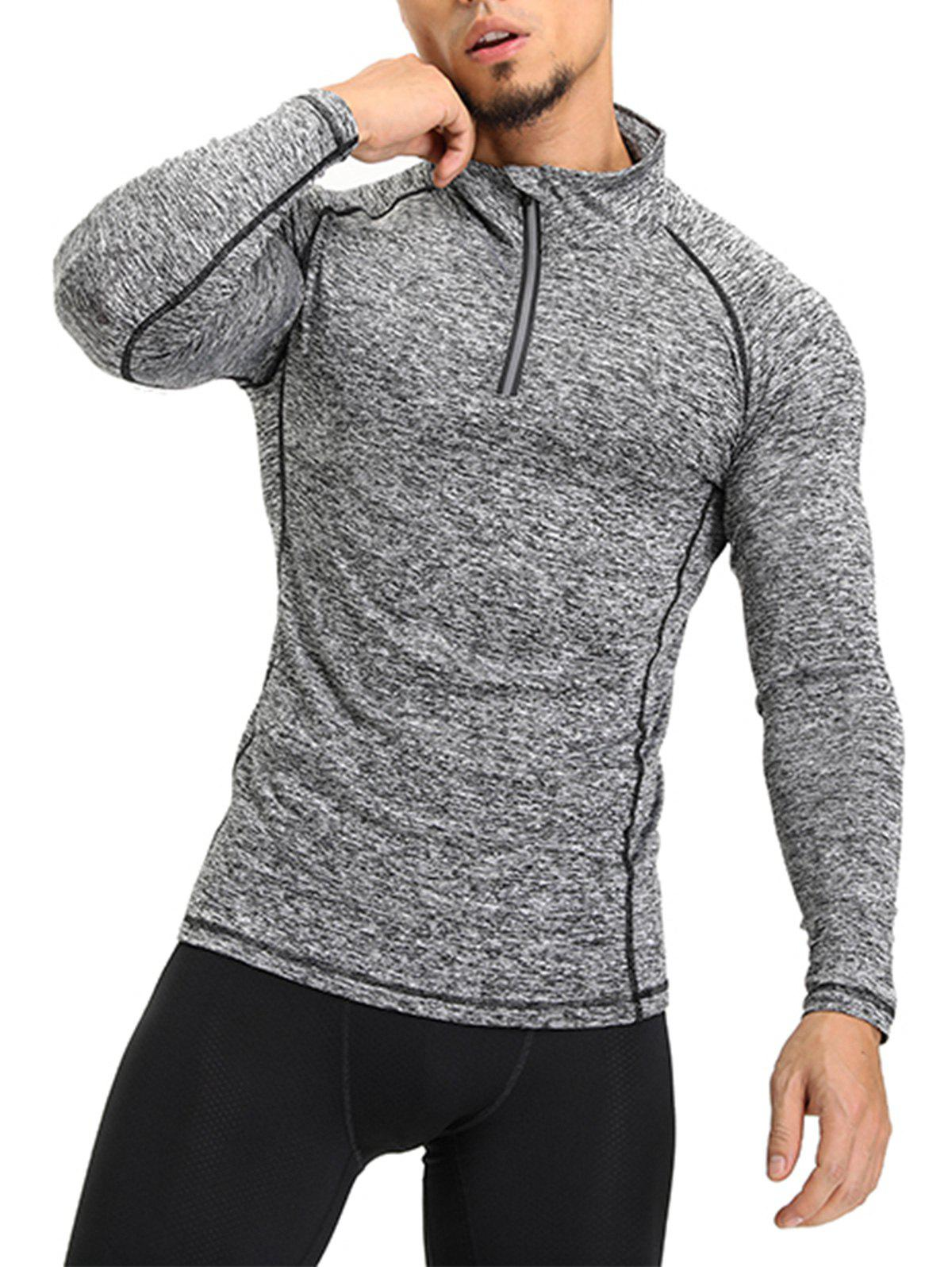 Raglan Sleeve Half Zip T-shirt - GRAY L