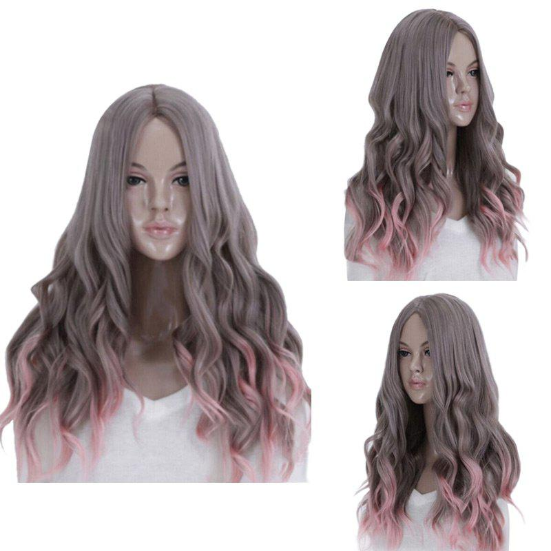 Long Middle Part Wavy Ombre Synthetic Cosplay Wig - COLORMIX