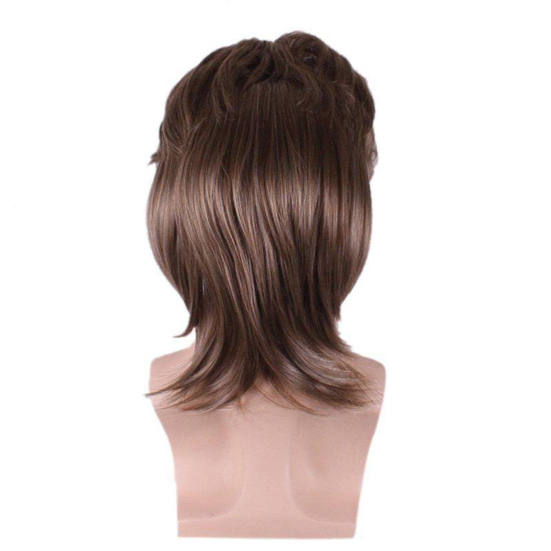 Layered Medium Straight Synthetic Cosplay Man Wig - BROWN