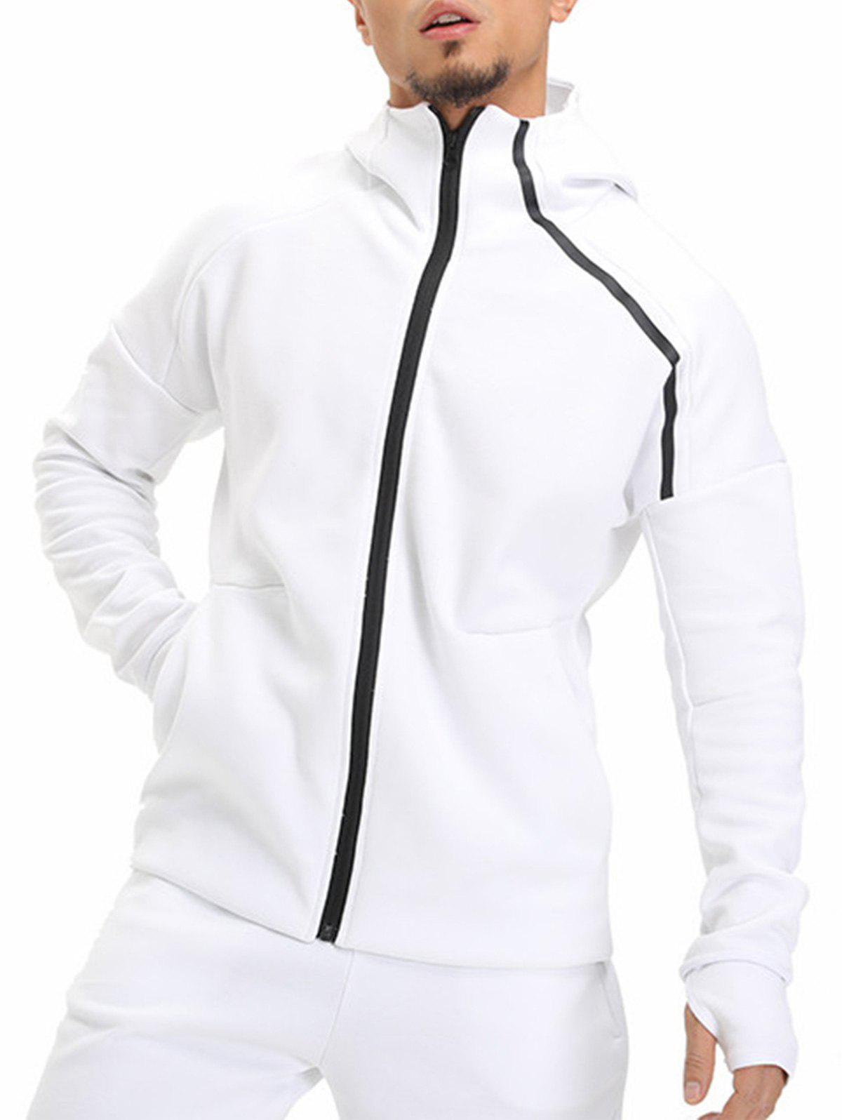 Drop Shoulder Linellae Zip Up Hoodie - WHITE XL