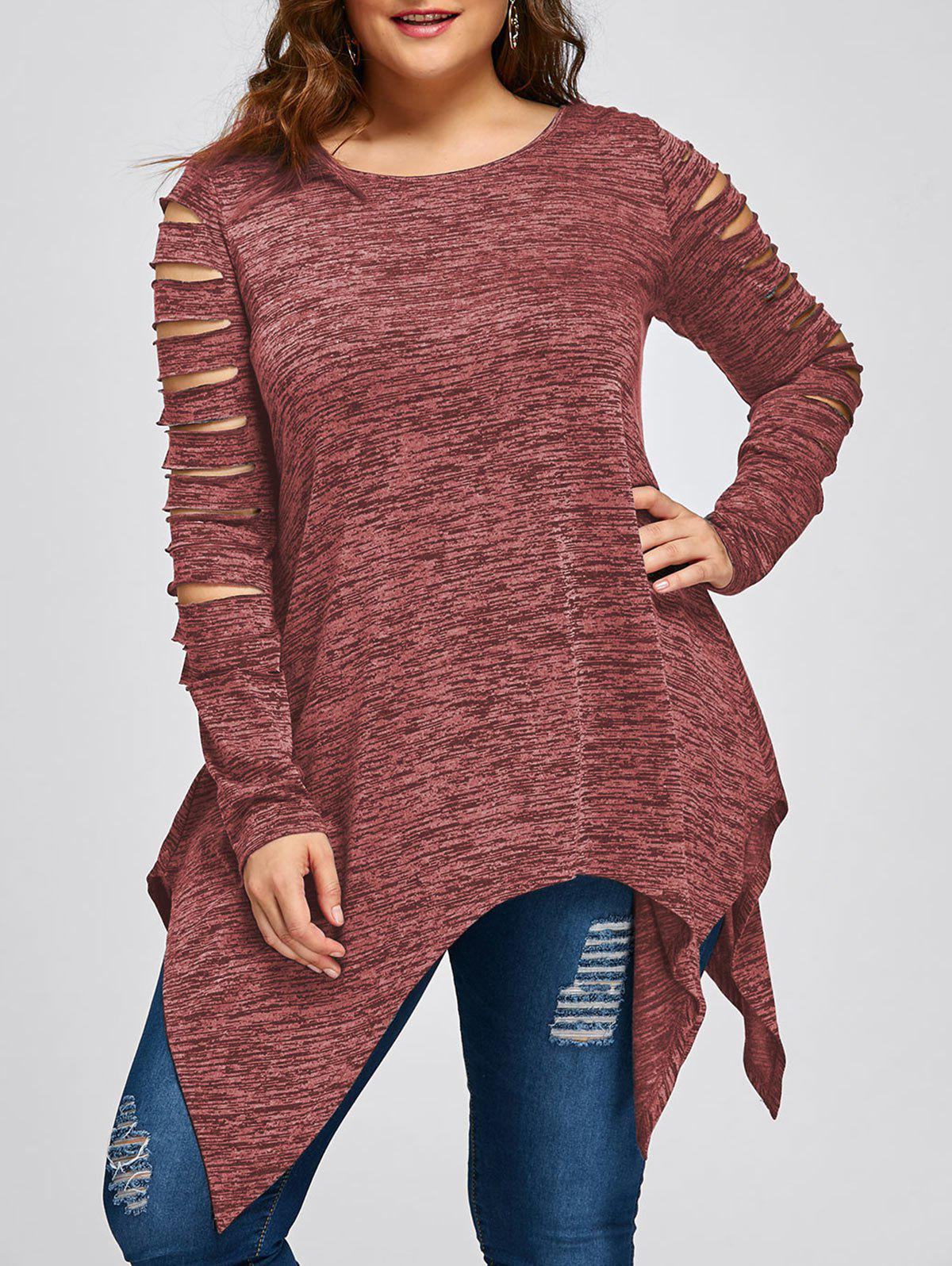 Plus Size Marled Ripped Sleeve Handkerchief Top iridescent sequin ripped marled knit jumper