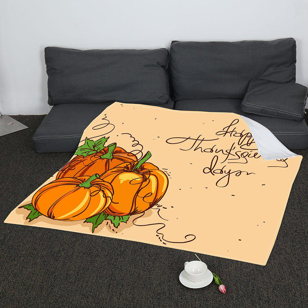 Thanksgiving Pumpkin Pattern Soft Coral Fleece Blanket - EARTHY W31 INCH*L59 INCH