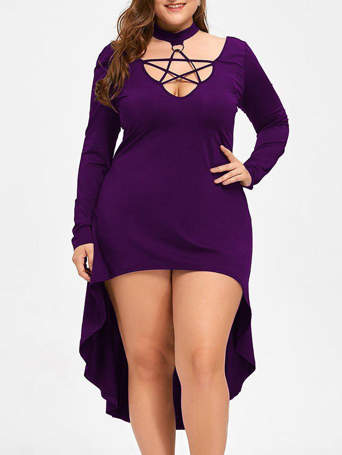 Robe Cocktail Grande Taille Halloween à Lacets - Pourpre 2XL