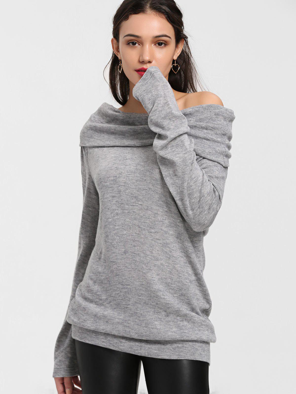 Off The Shoulder Longline Knitwear - GRAY L
