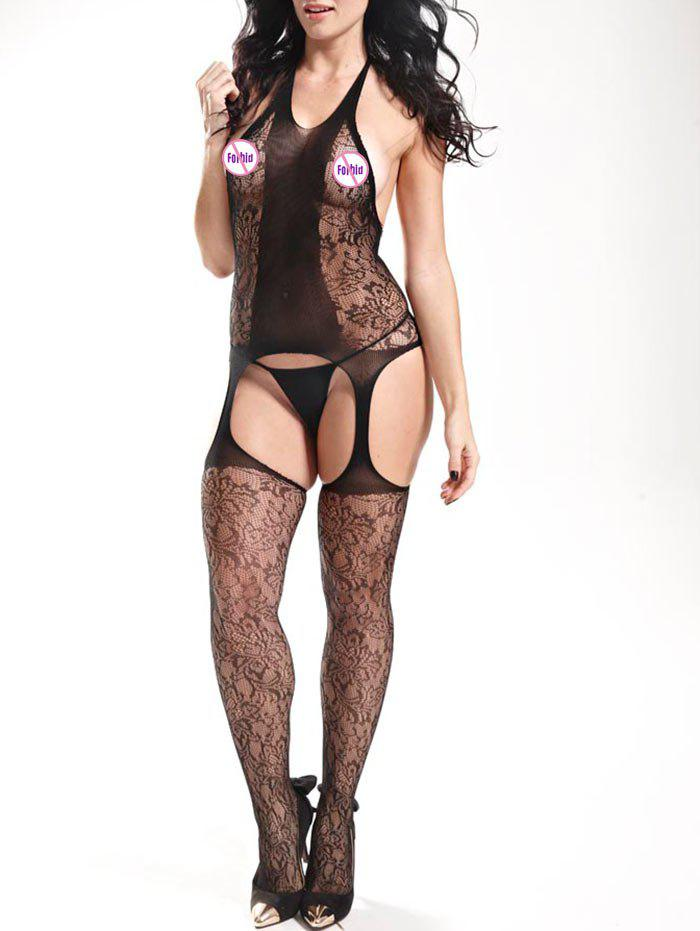 Halter Fishnet Cut Out Bodystockings - BLACK ONE SIZE