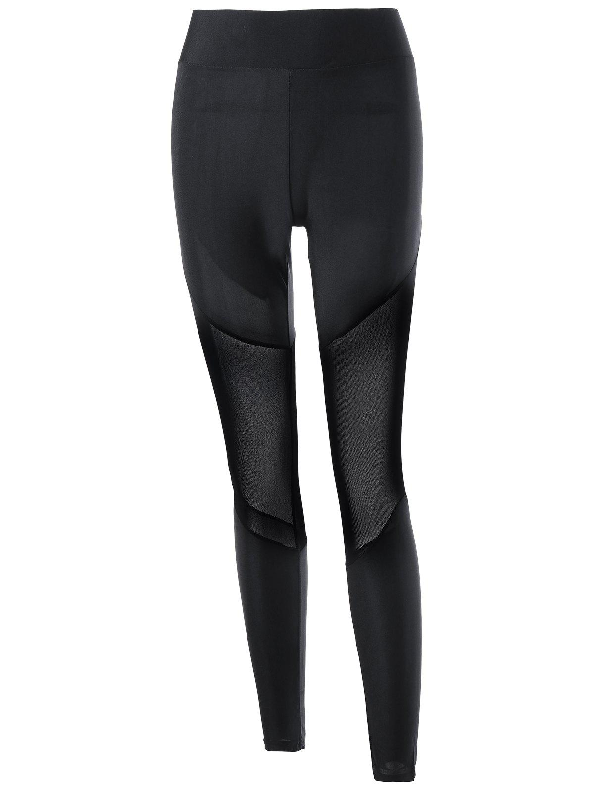Mesh Insert Tight Leggings - BLACK 2XL