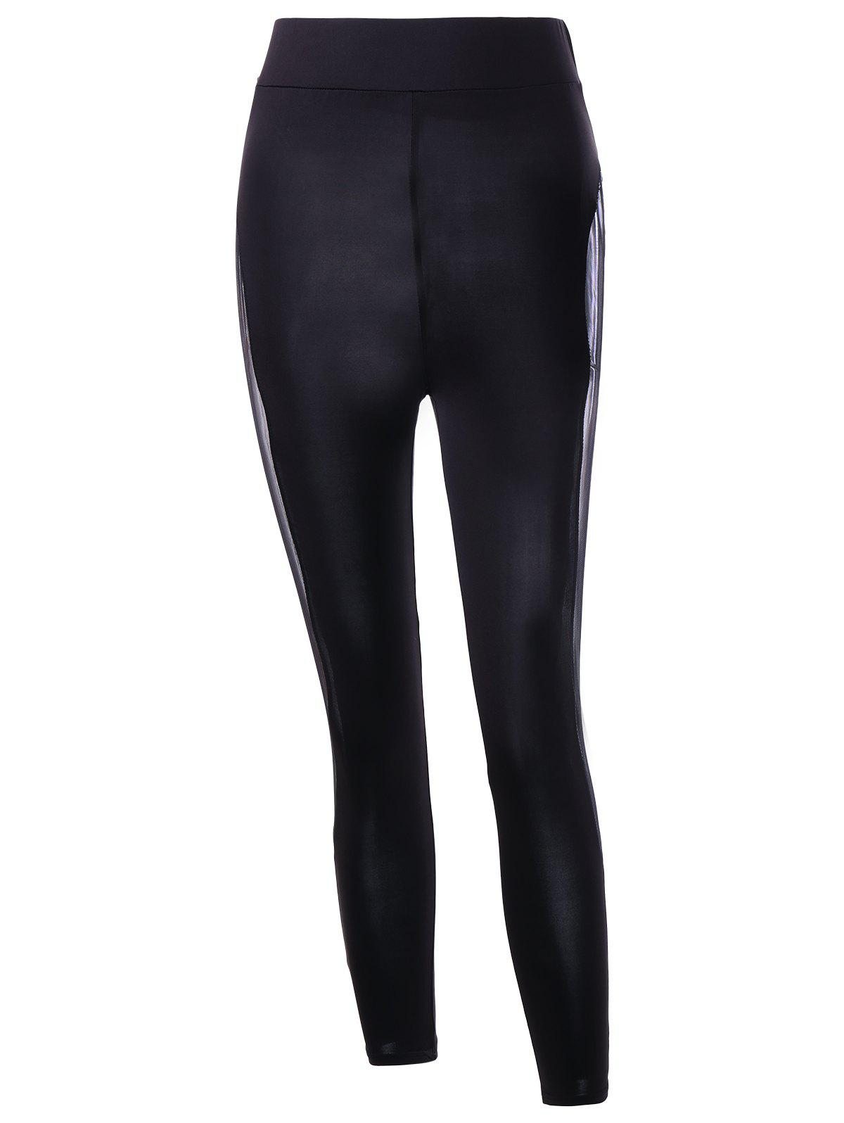Legging à Empiècement en Tulle Transparent - Noir L