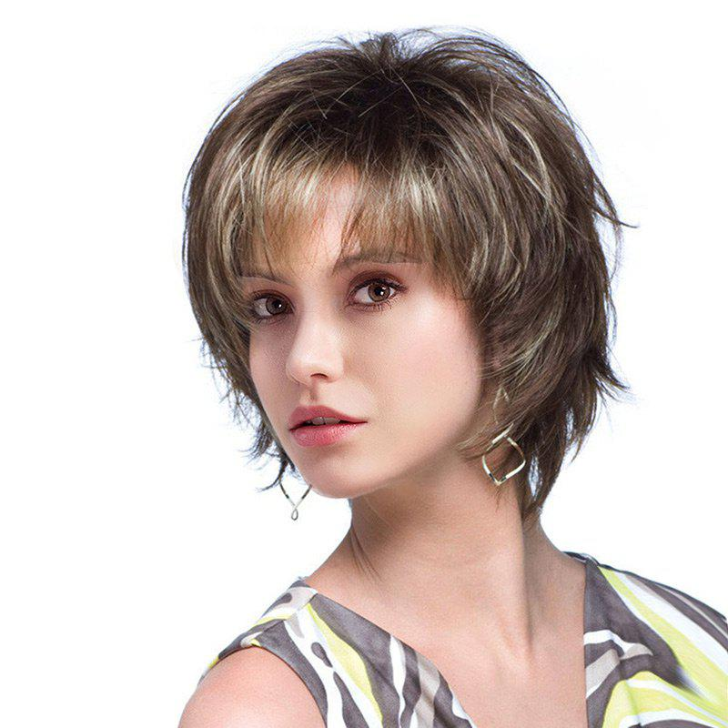 Short Side Fringe Fluffy Colormix Natural Straight Human Hair Wig - COLORMIX