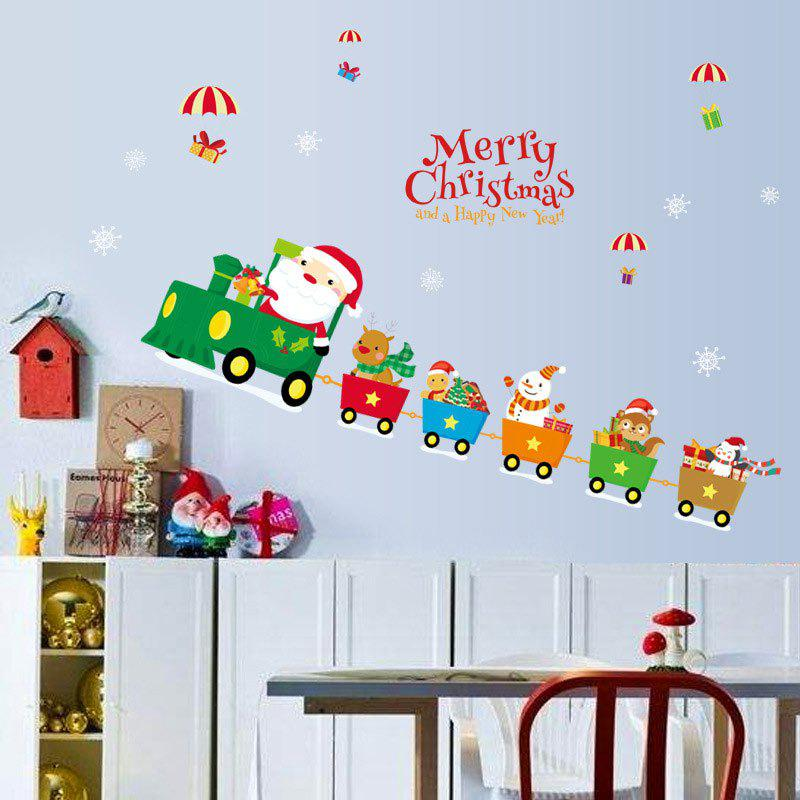 Christmas Santa Train Pattern Wall Art Stickers - COLORMIX 45*60CM