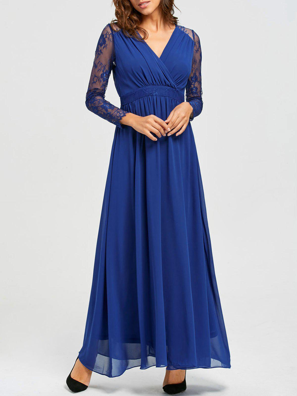 Lace Long Sleeve V-neck Floor Length Dress - BLUE L