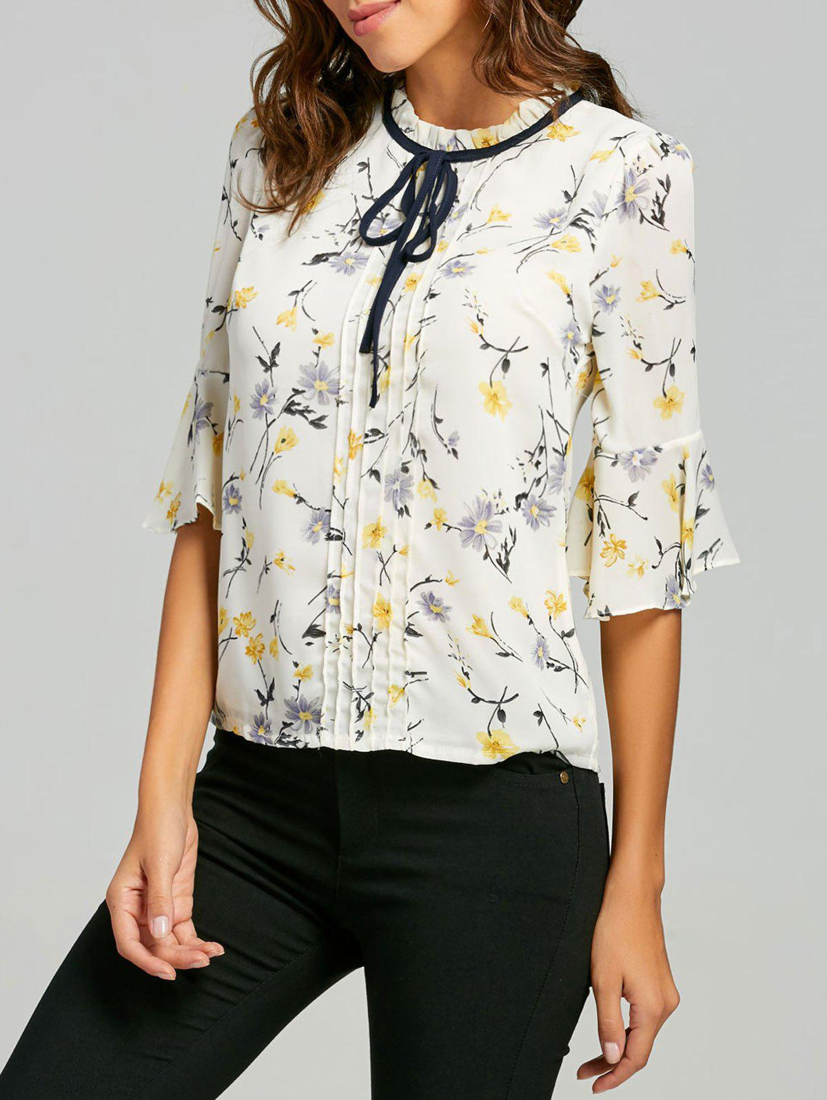 Ruffle Neck Floral Blouse - YELLOW M