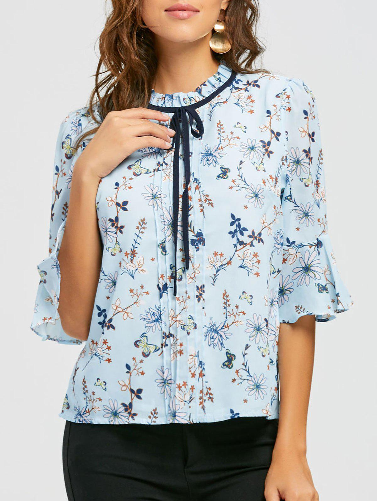 Ruffle Neck Floral Blouse - BLUE L