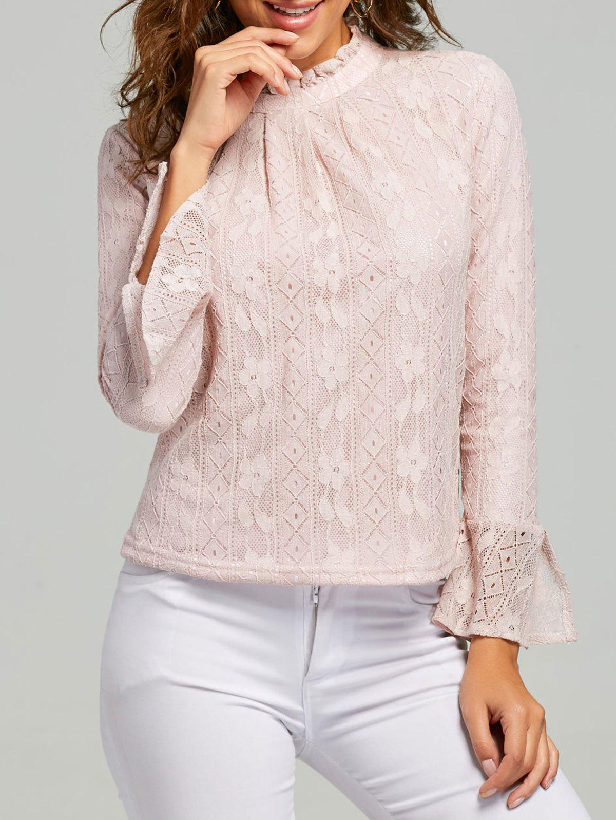 Lace Ruffle Neck Blouse - PINK L