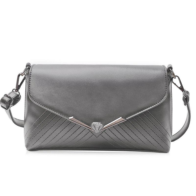 Faux Leather Metal Detailed Quilted Shoulder Bag - GRAY