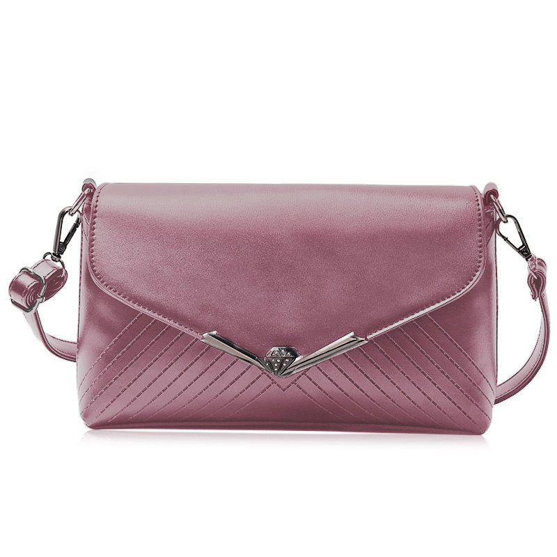 Faux Leather Metal Detailed Quilted Shoulder Bag - PURPLE