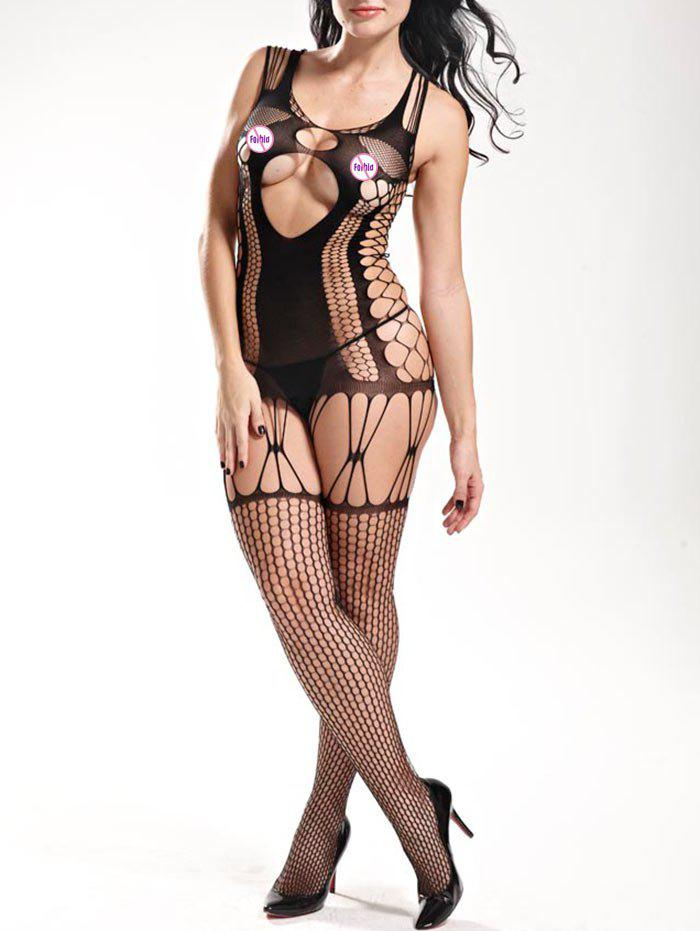 Fishnet Cut Out Tank Bodystockings - BLACK ONE SIZE