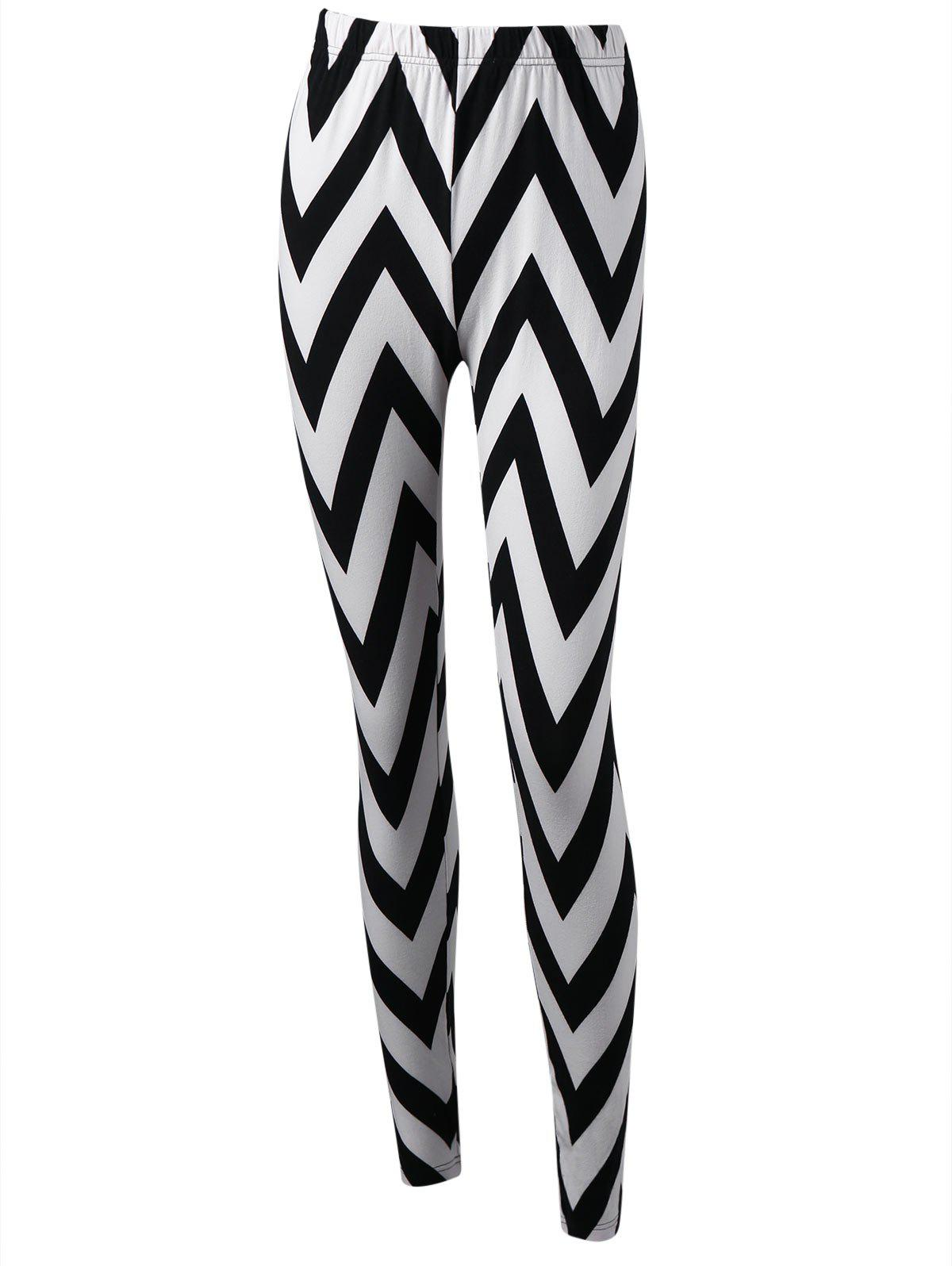 Monochrome Zigzag Leggings - WHITE/BLACK M