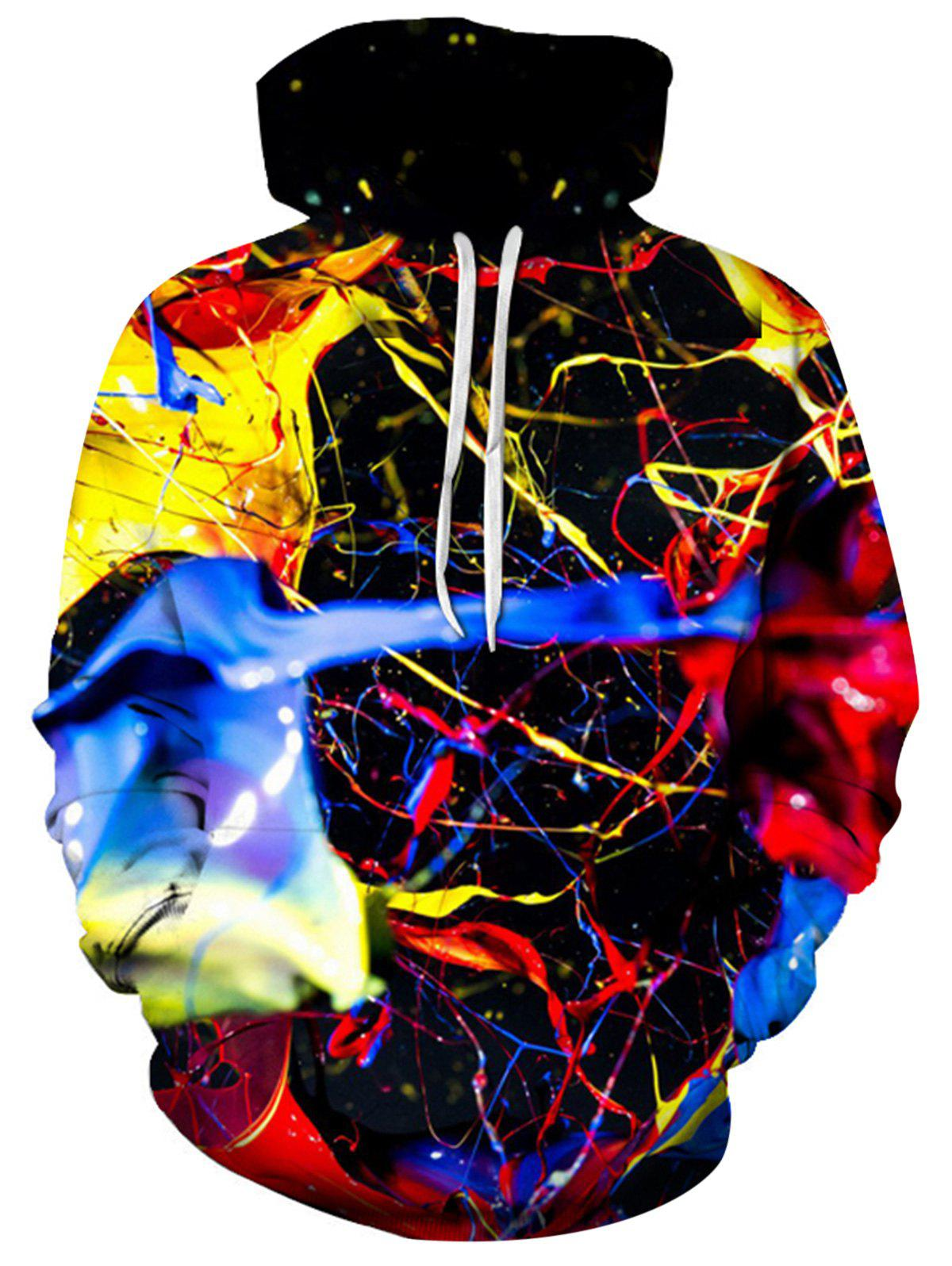 Colorful 3D Splatter Paint Print Pullover Hoodie - multicolorcolore XL