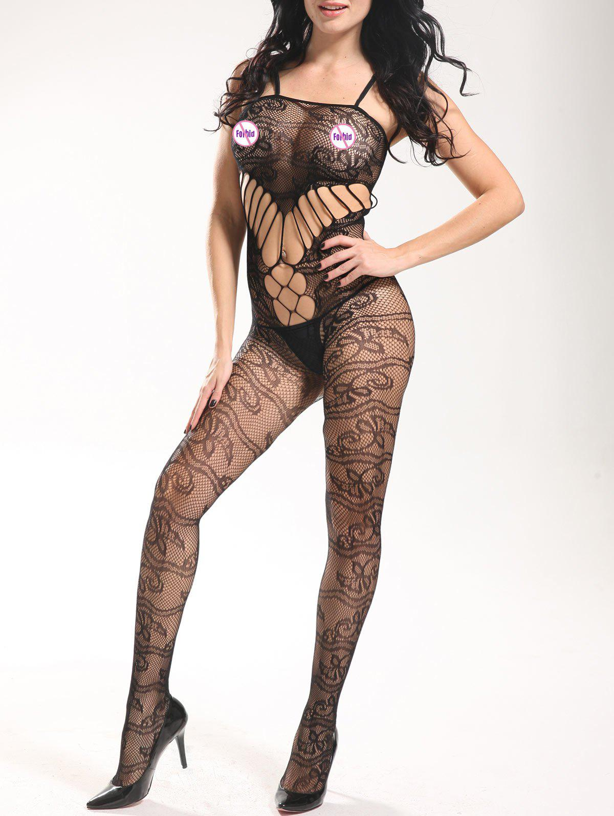 Slip See Through Fishnet Bodystockings - Noir ONE SIZE