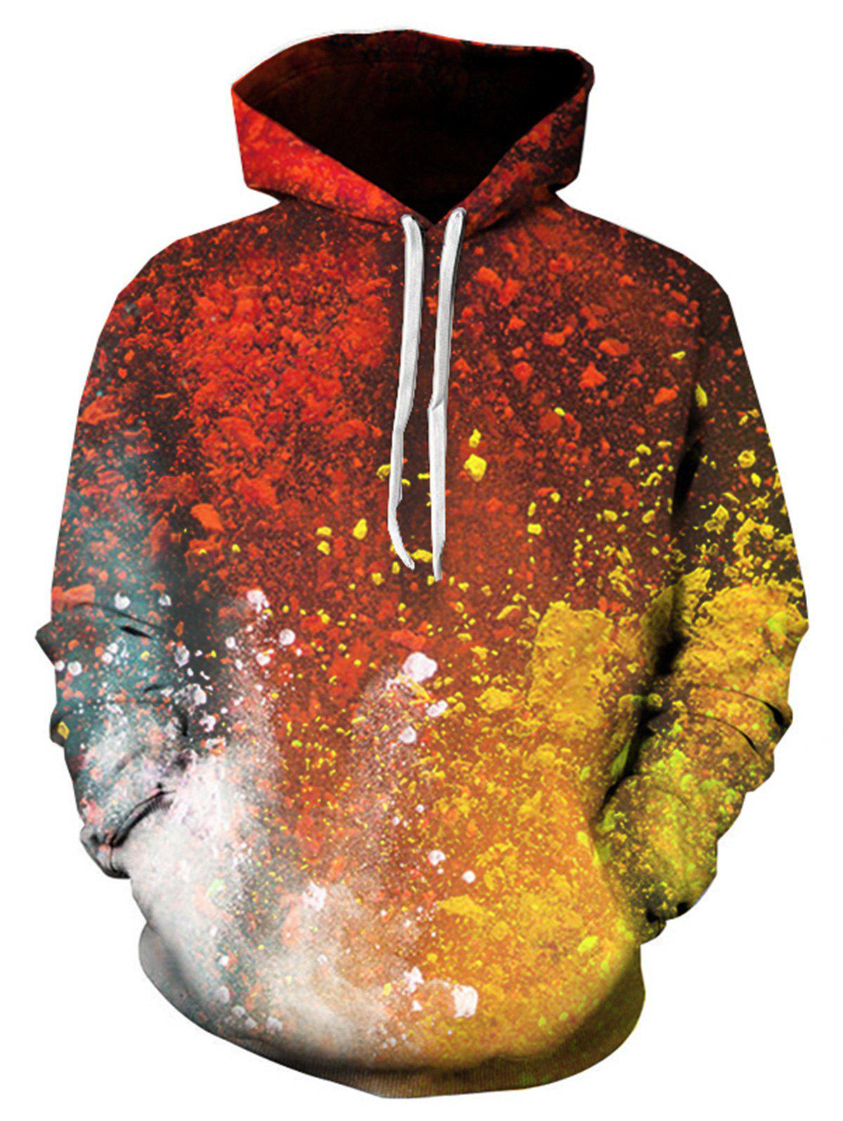 Paint Ombre 3D Print Pullover Hoodie - multicolorcolore XL