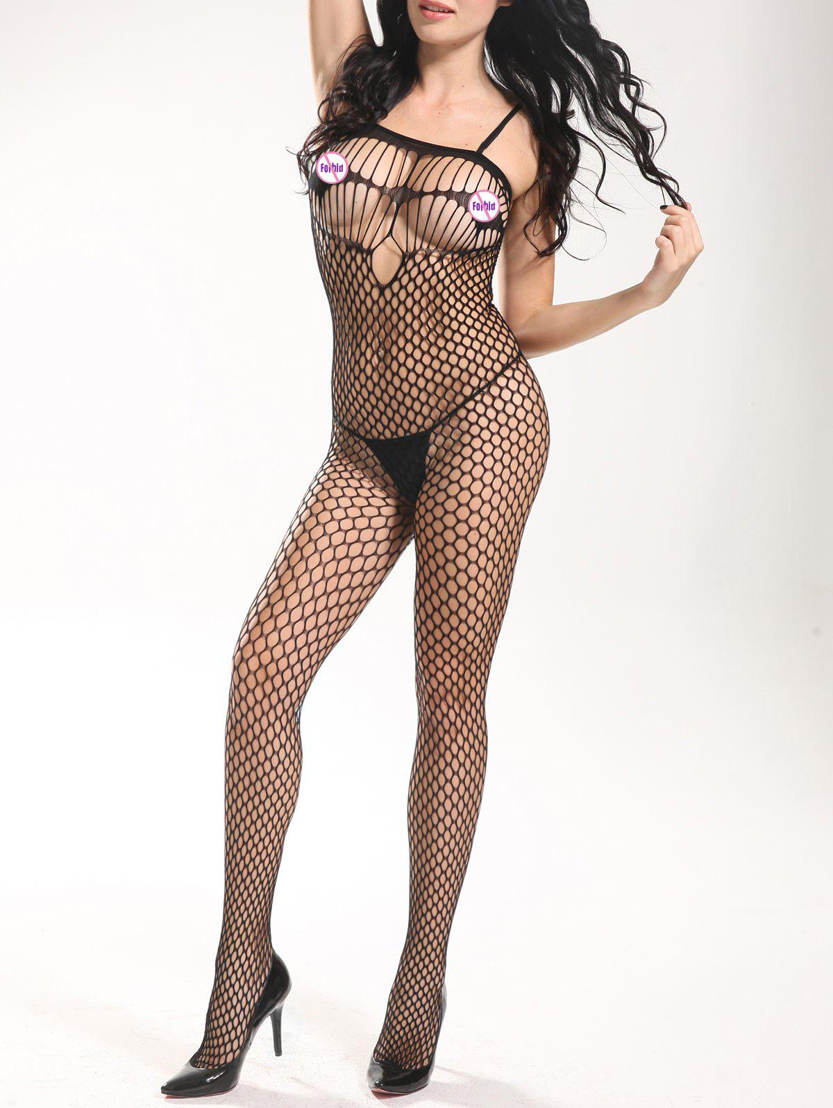 Slip Openwork Bodystockings - BLACK ONE SIZE