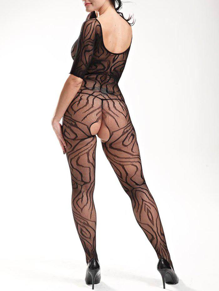 Fishnet Bodystockings with Sleeves - BLACK ONE SIZE