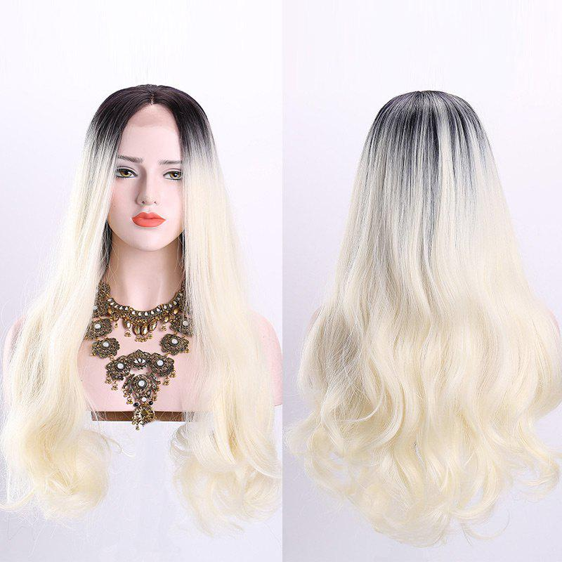 Middle Part Long Wavy Ombre Synthetic Lace Front Wig - OFF WHITE