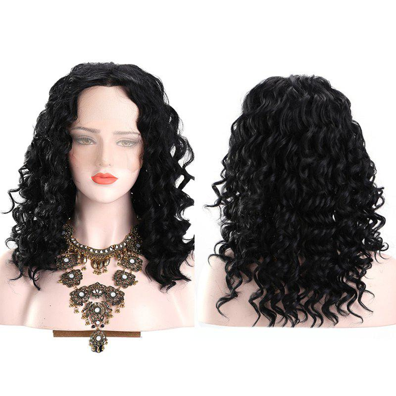 Long Middle Part Fluffy Deep Wave Synthetic Lace Front Wig - BLACK
