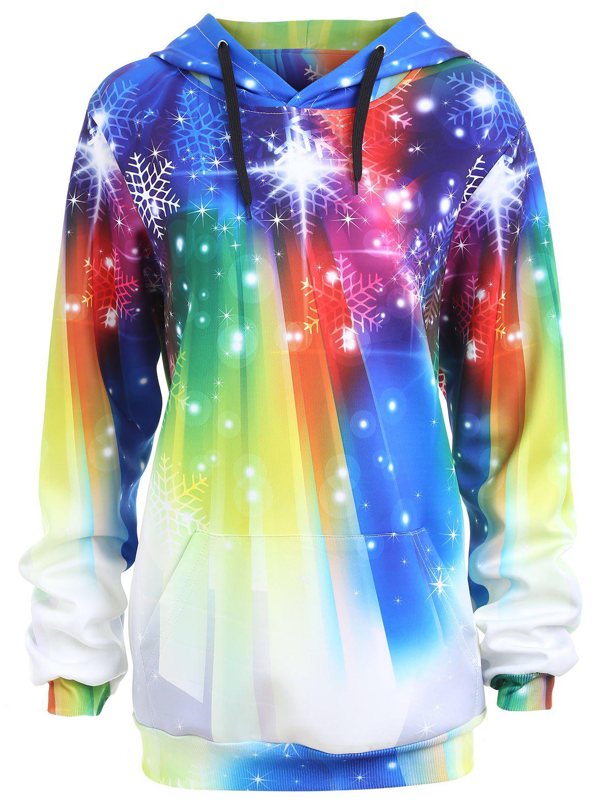 Plus Size Rainbow Christmas Snowflake Hoodie - COLORFUL XL