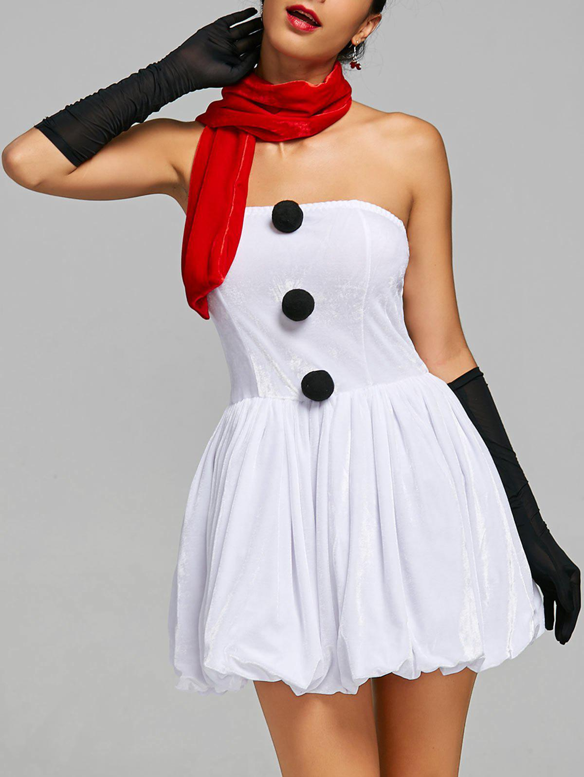Strapless Snowman Christmas Costume Outfits - WHITE ONE SIZE