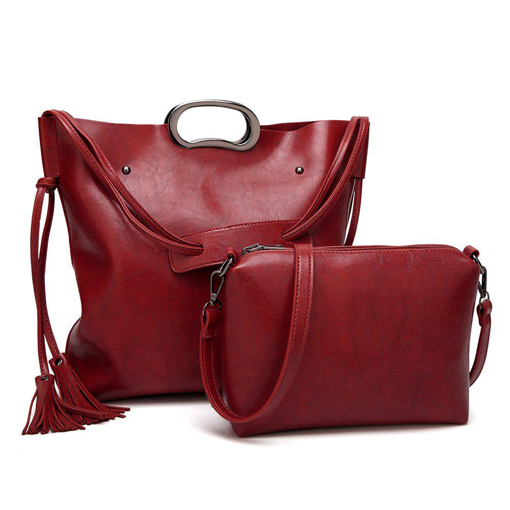 2 Pieces Tassel Rivets Tote Bag Set - WINE RED