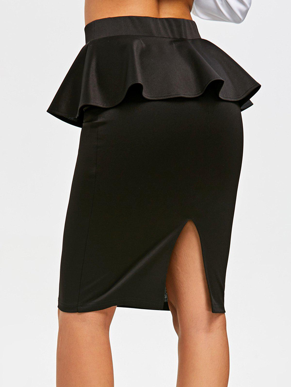High Waist Peplum Pencil Skirt - BLACK 2XL