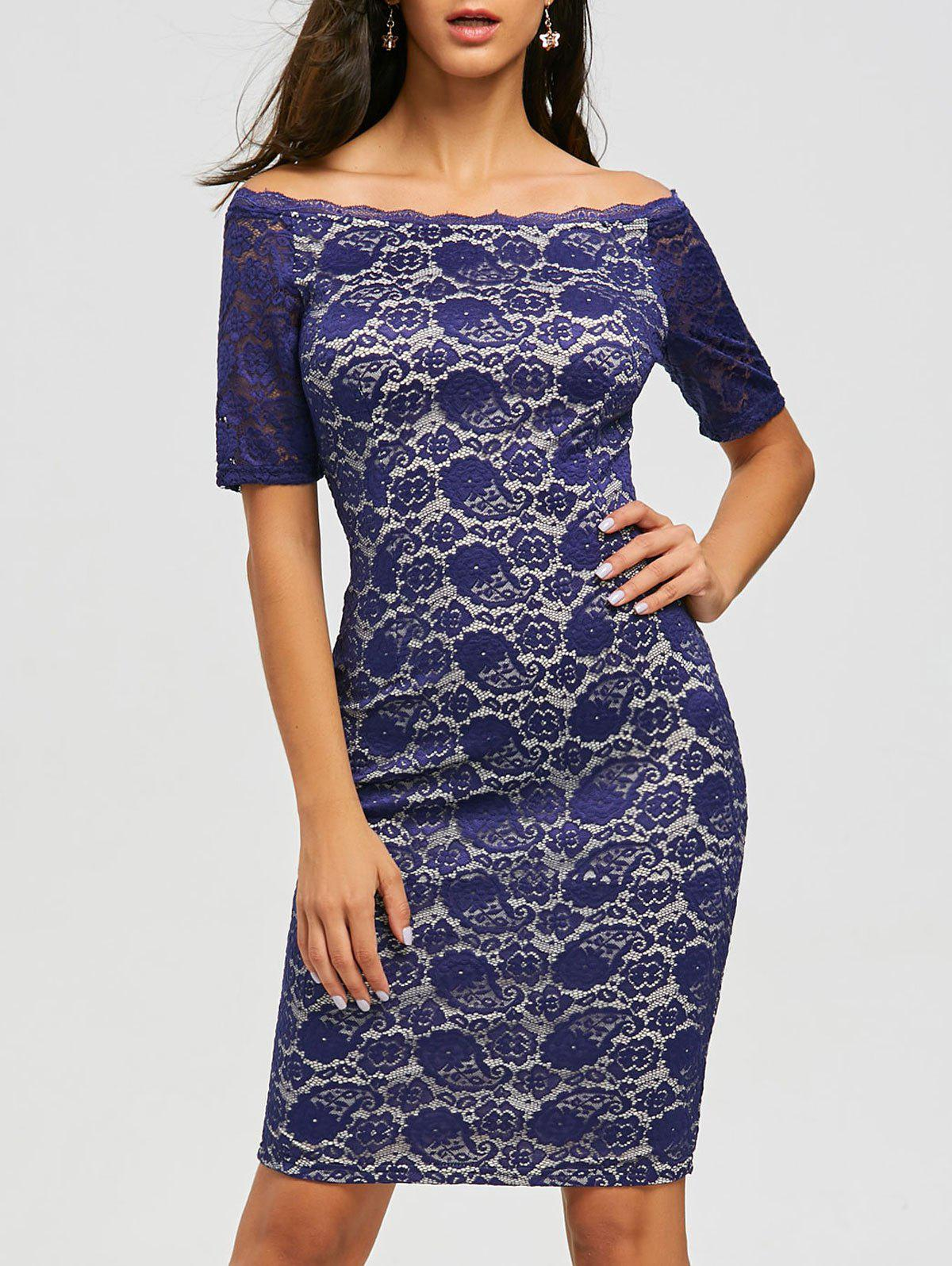 Knee Length Off Shoulder Lace Dress - BLUE L