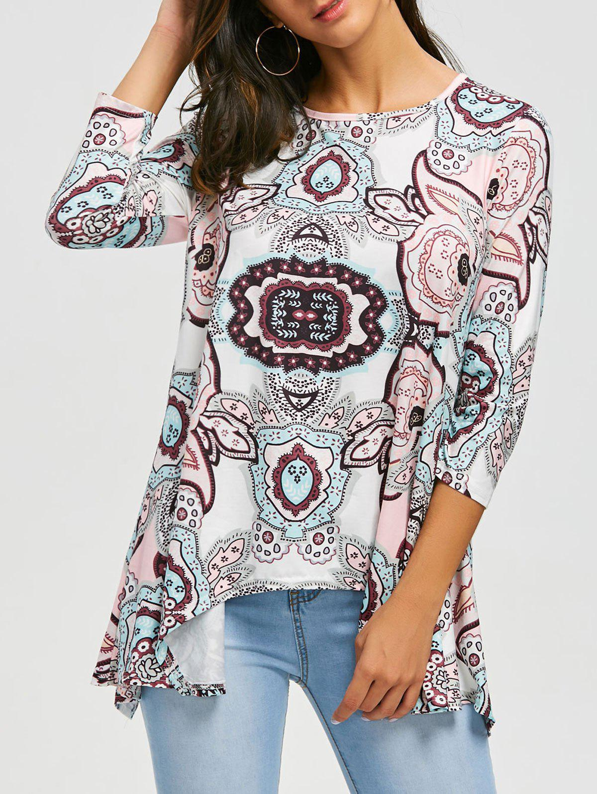 Asymmetric Print Tunic Top - PINK L