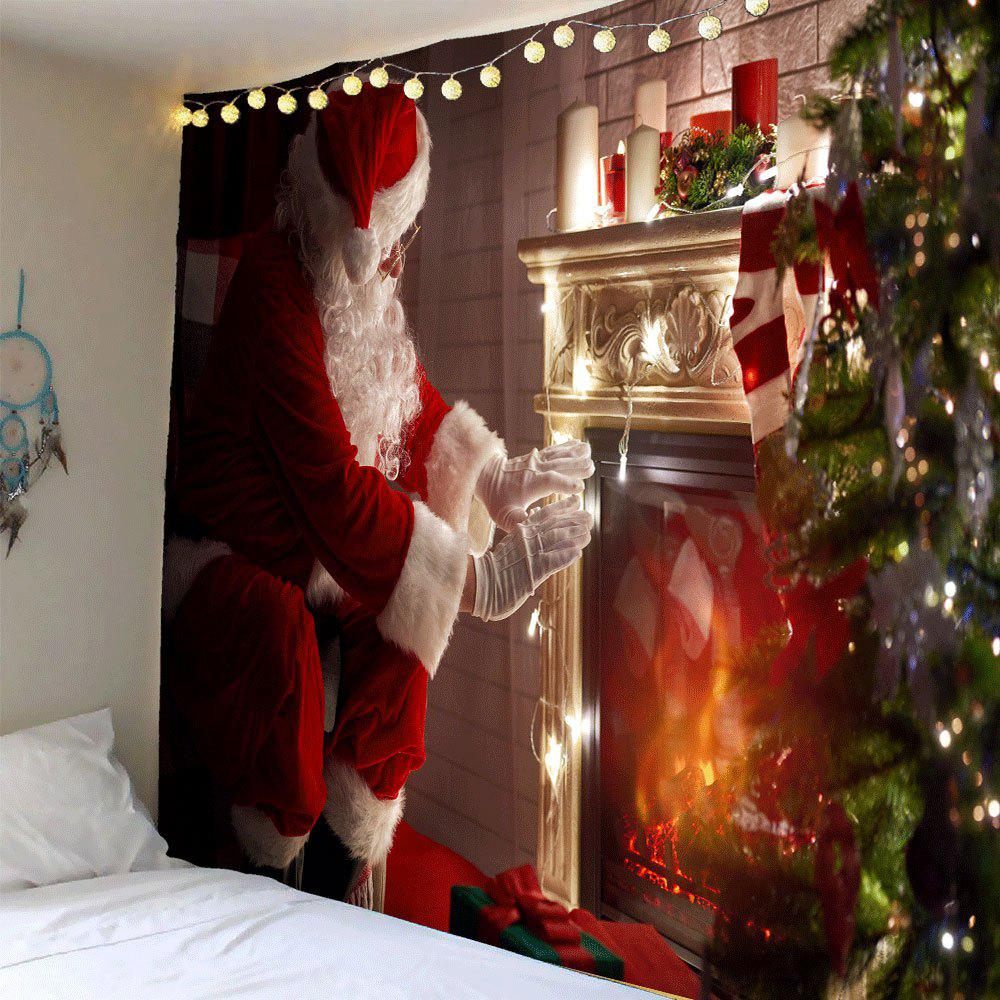Santa Claus Front Fireplace Printed Wall Tapestry santa claus holiday printed pillow case