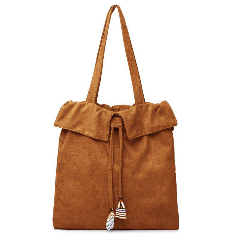 Drawstring Shoulder Bag - BROWN