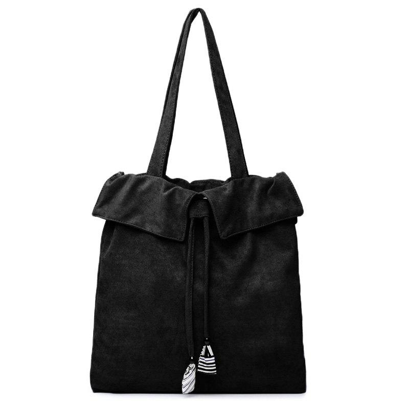 Drawstring Shoulder Bag - BLACK
