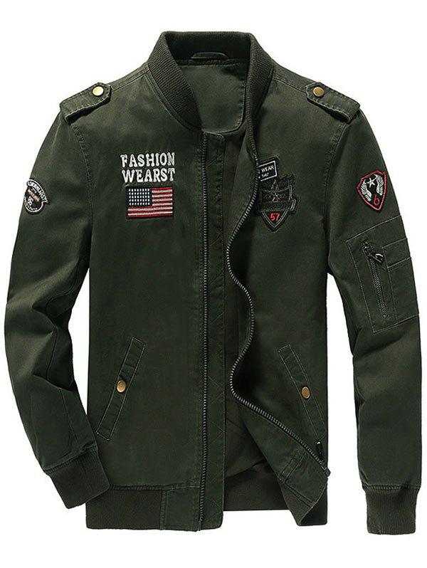 Zipper Up Epaulet Design Patched Jacket - ARMY GREEN M