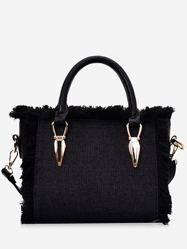 Denim Frayed Edge Tote Bag - BLACK