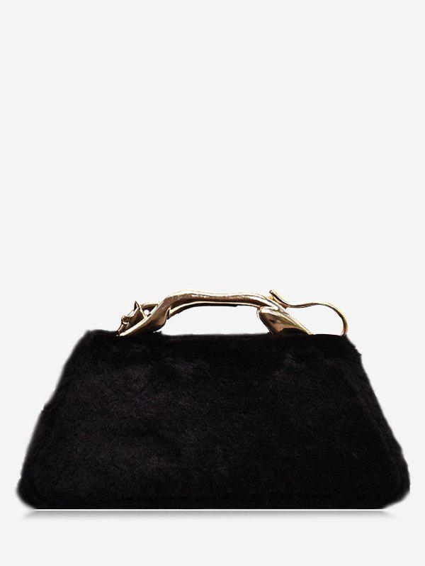 Metal Handle Faux Fur Handbag - BLACK